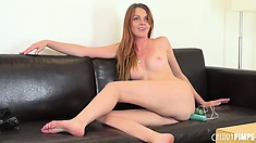 Marie McCray licks her fingers to taste her own delicious juices