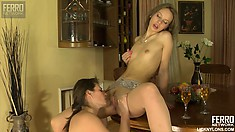 Sugary lesbian babe with small breasts Irene is nailed by Gertie