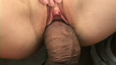 Two big black snakes get swallowed up by her tight white holes