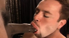 Lustful white boy has a black stud with a huge prick plowing his ass